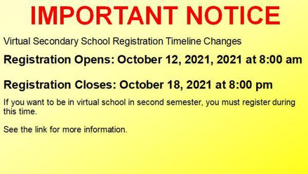 Virtual secondary school registration for semester 2, 2021-2022