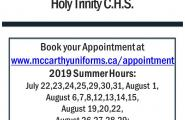McCarthy's Uniforms Summer Hours